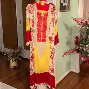 Red and yellow two piece Pakistani gown dupatta
